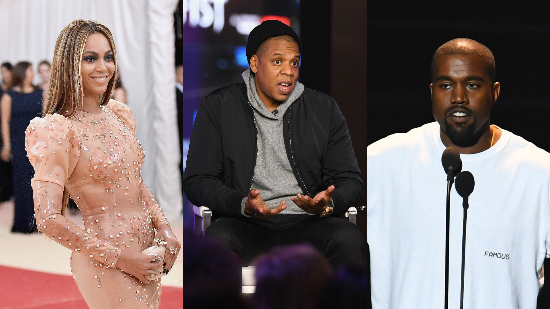 Beyonce, Jay-Z and Kanye West.