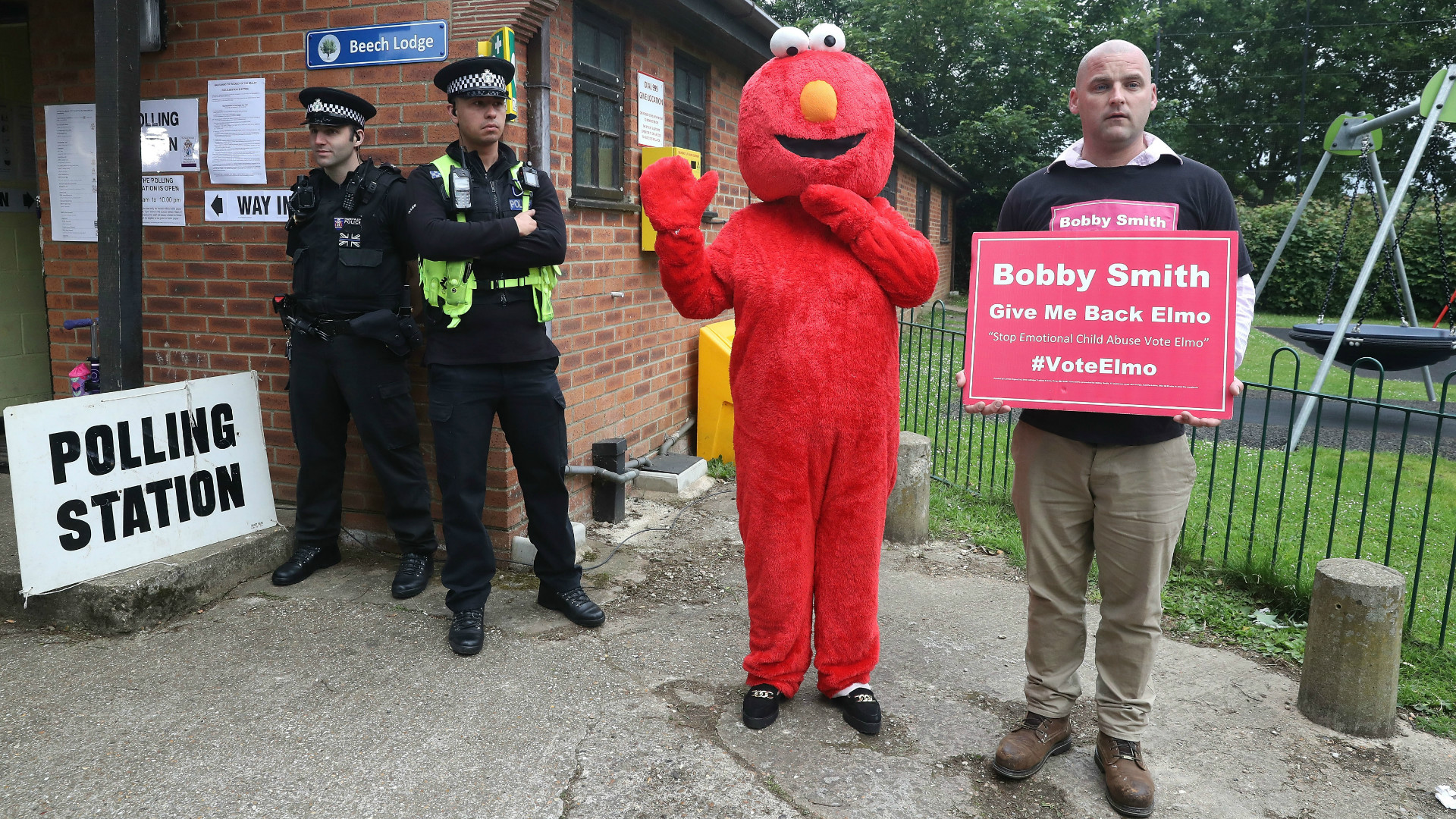Elmo standing for election.