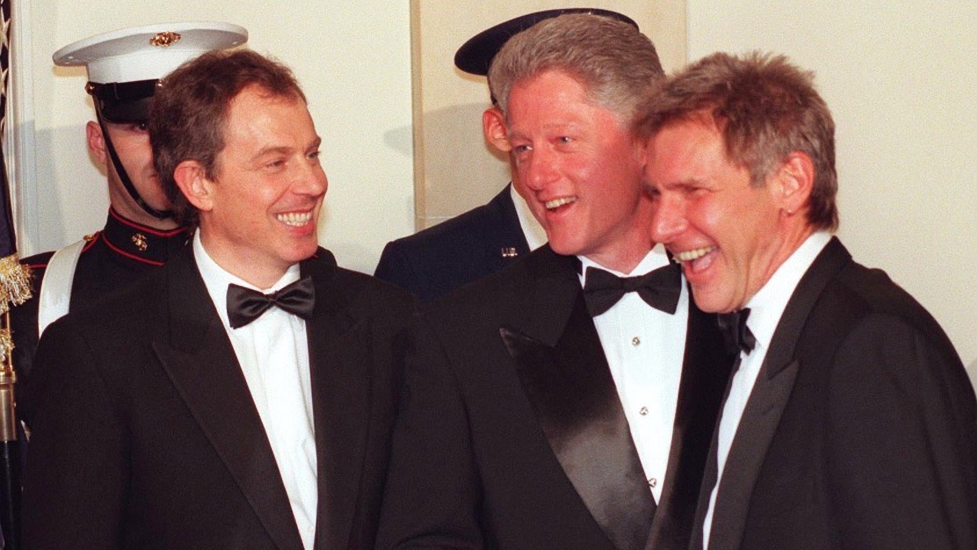 Tony Blair, Bill Clinton and Harrison Ford.