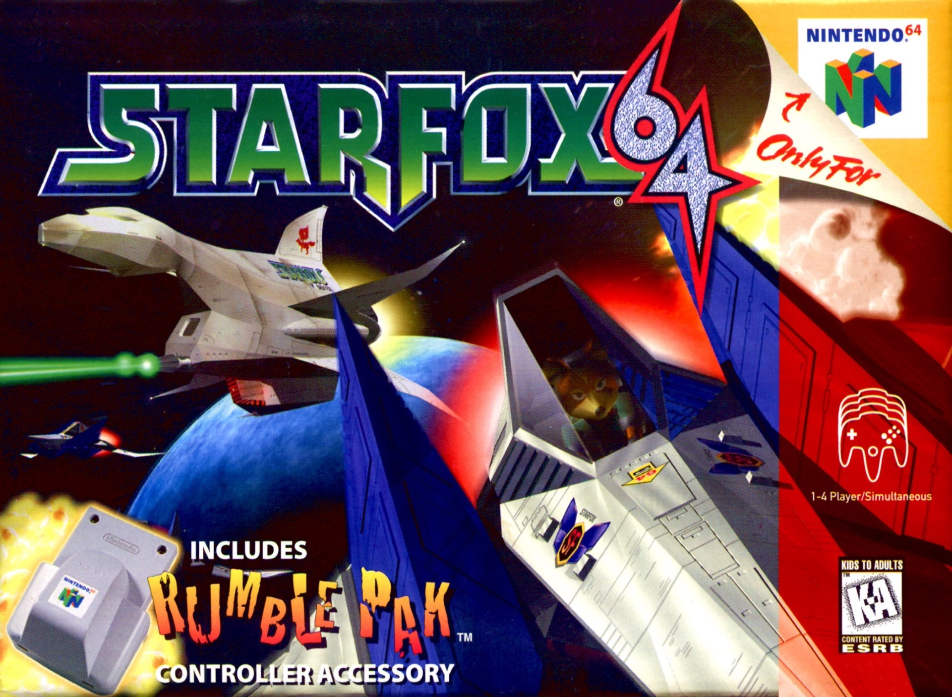 Star Fox 64 on the Nintendo 64.