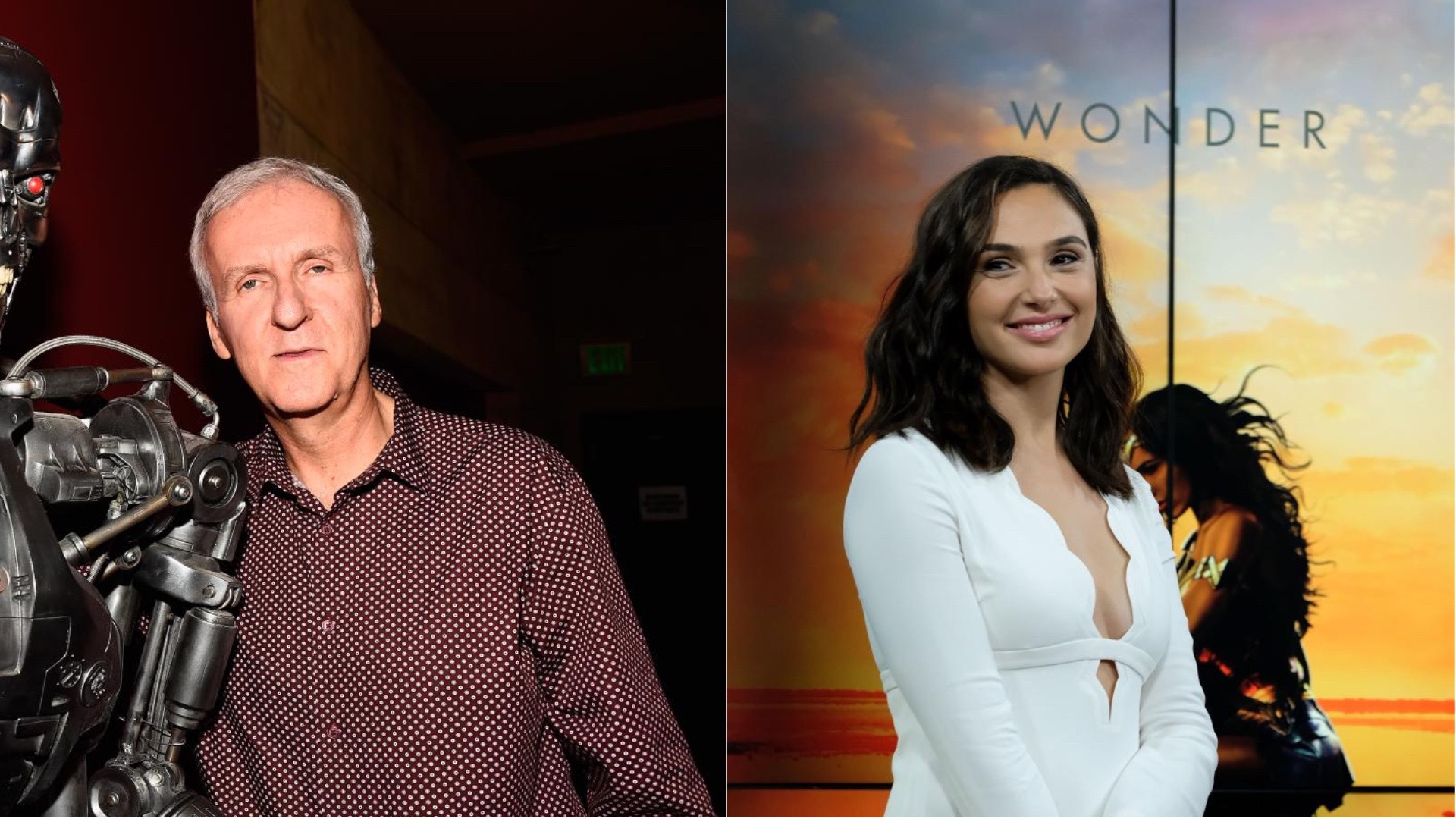 James Cameron and Gal Gadot.