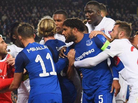 A fight between Everton and Lyon players.