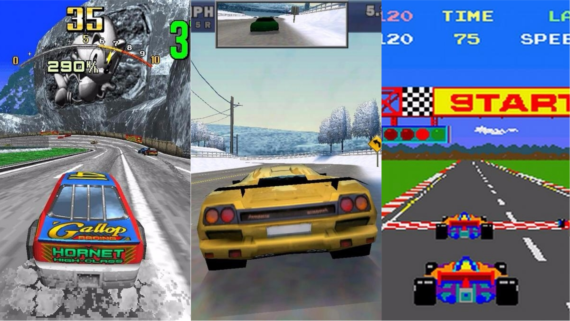 A collage of classic driving games.