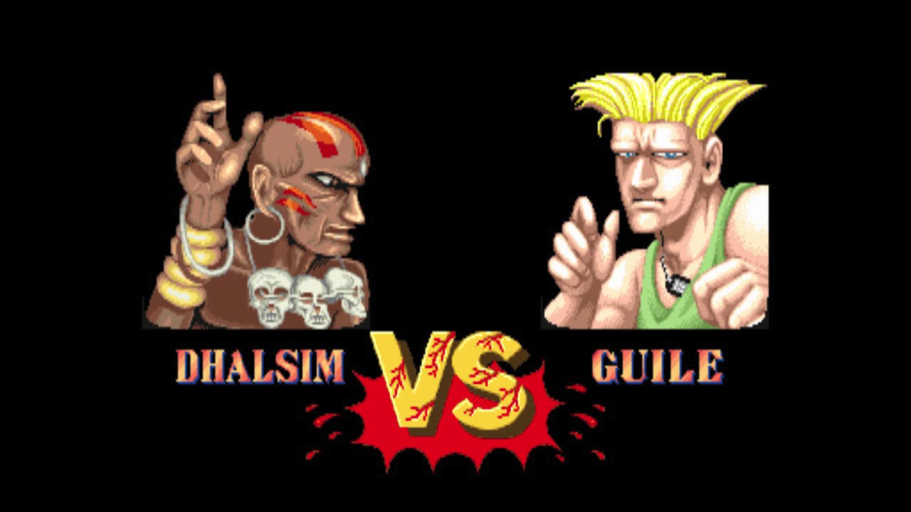 Dhalsim and Guile in Street Fighter.