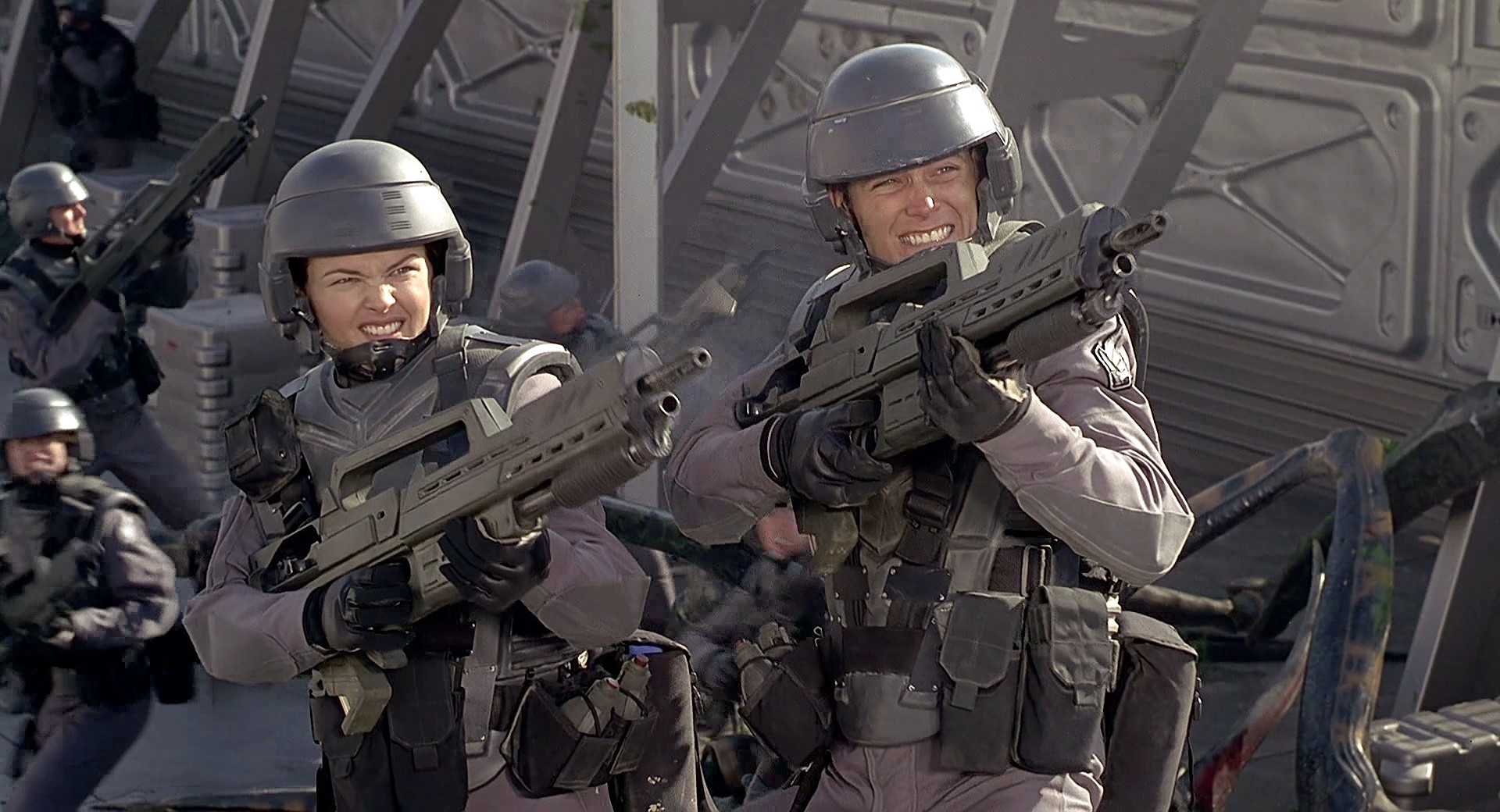 The Starship Troopers in combat.