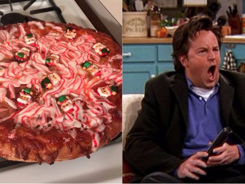 The candy cane pizza.