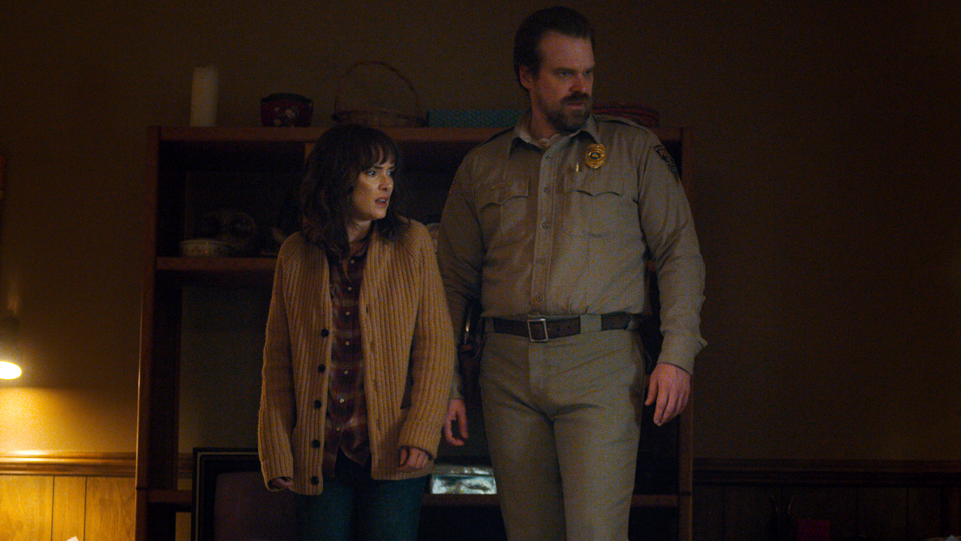 Winona Ryder and David Harbour in Stranger Things.