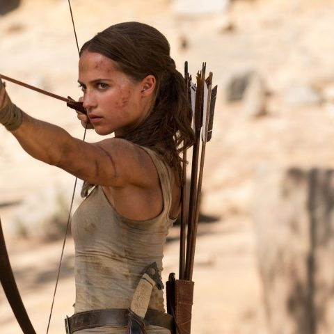 Alicia Vikander in Tomb Raider.