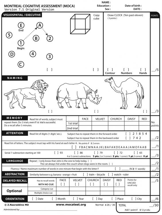 The cognitive test.