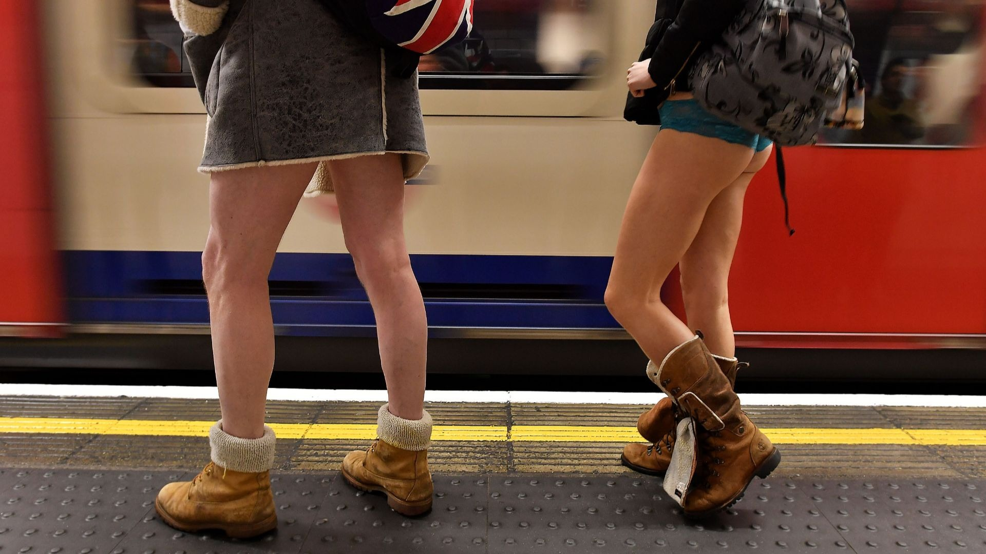 No trousers day on the London Underground.