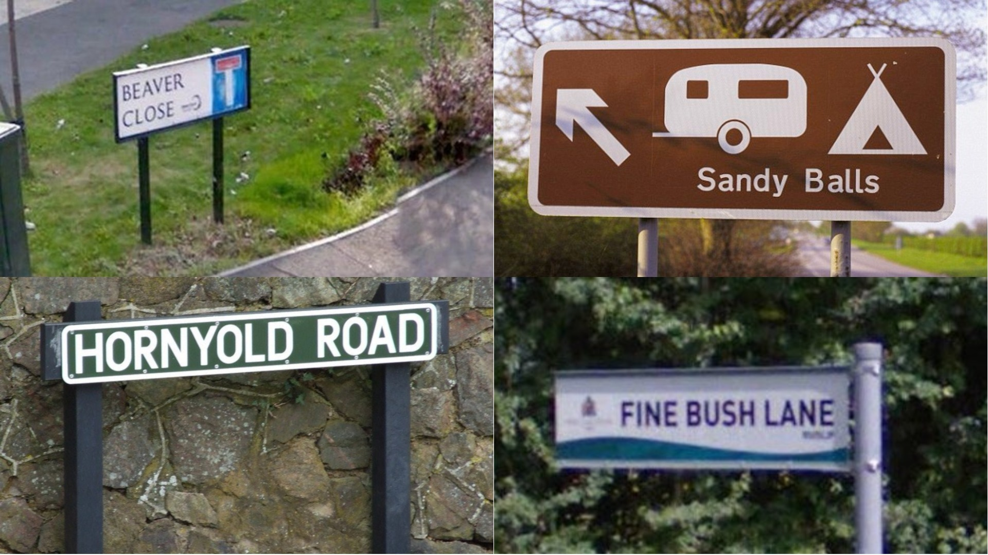 A selection of rude place names from across the UK.