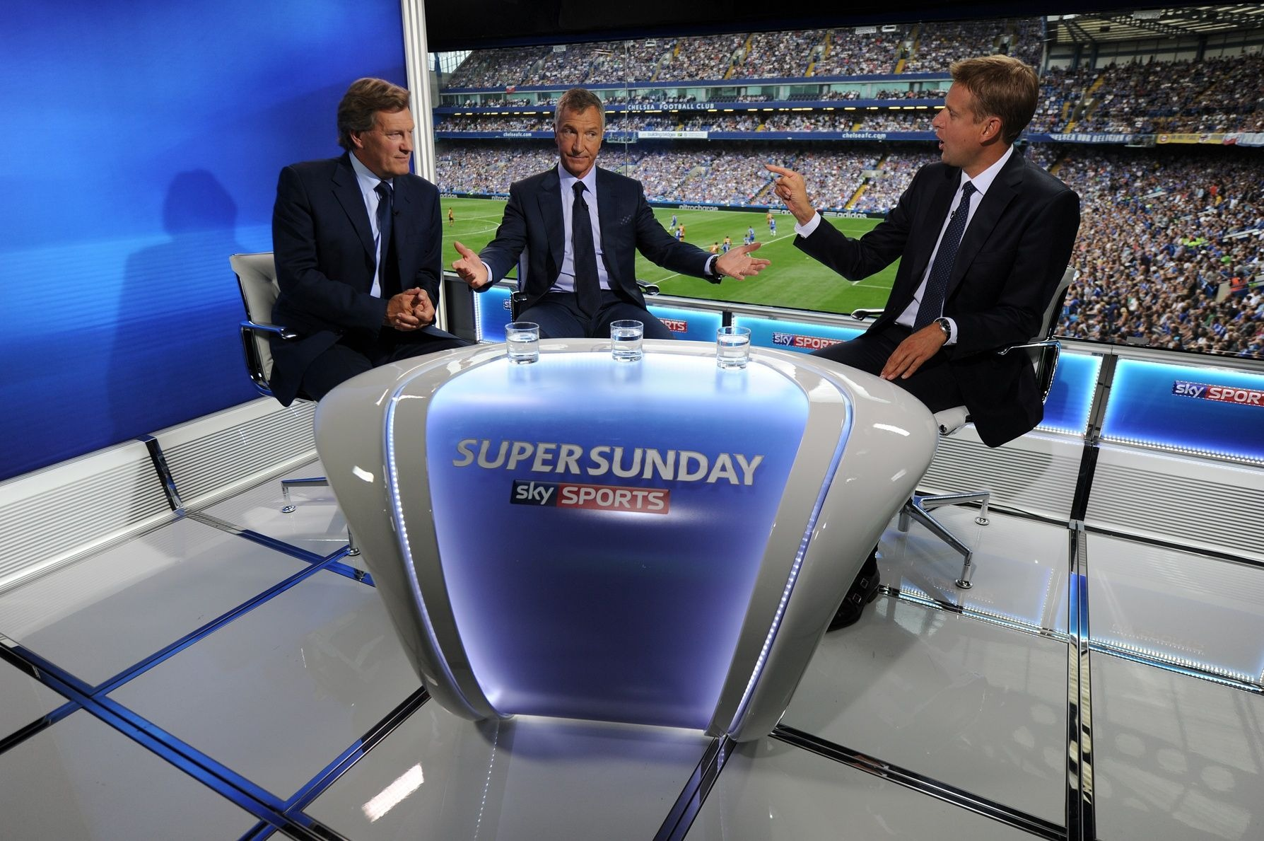 Glenn Hoddle, Graeme Souness and Ed Chamberlain during the Sky Sports Super Sunday coverage from Stamford Bridge.