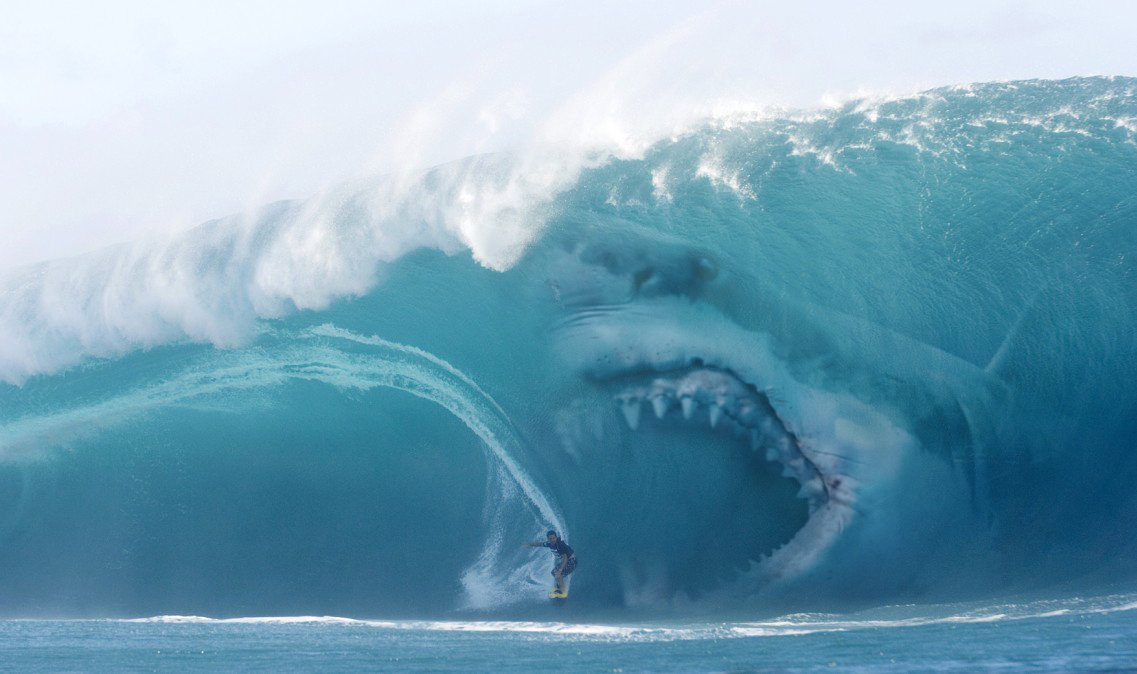 A Megalodon in a wave.