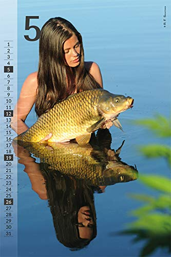 Carp a load of this! Models pose alongside prize catch for fishing calendar.