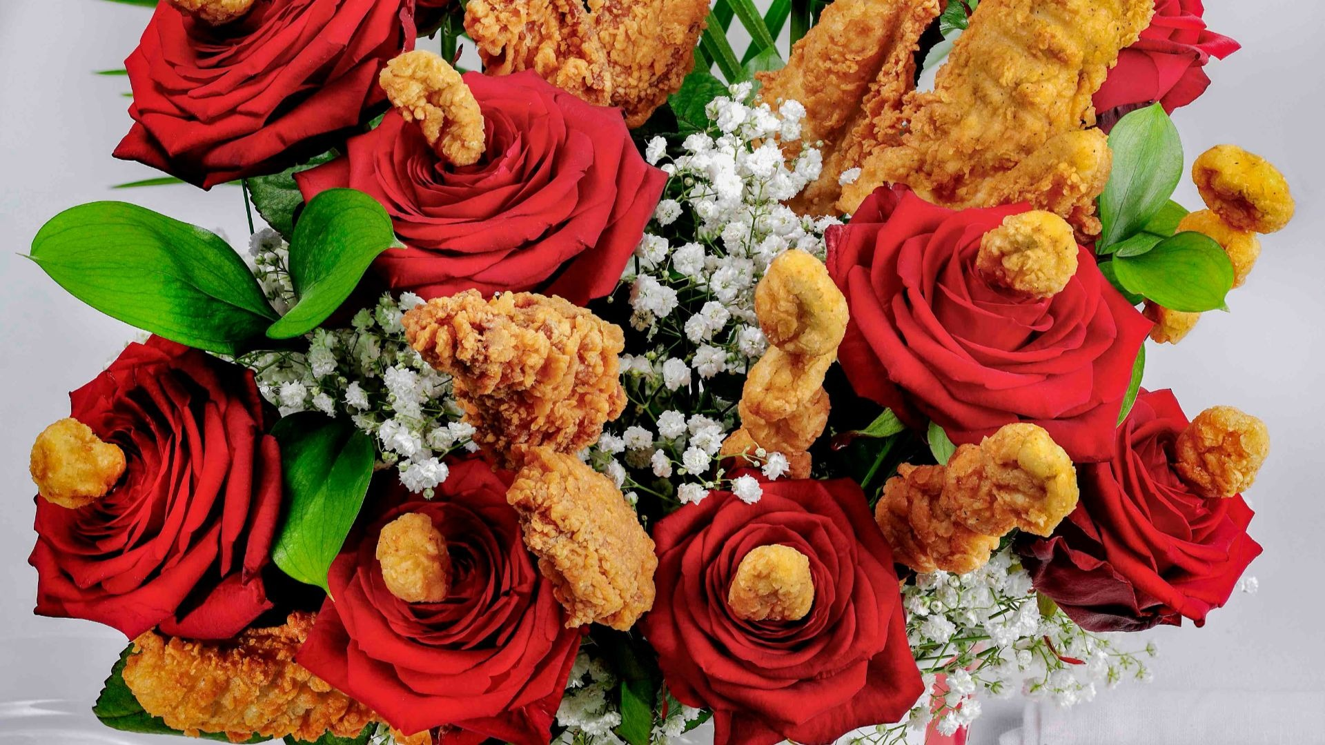 KFC launches fried chicken flower bouquet just in time for Valentine's Day.